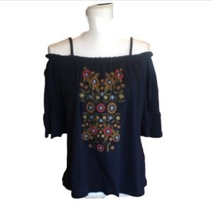 Navy off the shoulder top with floral embroidery